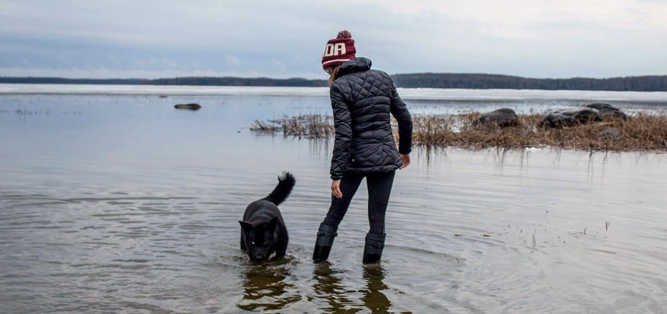 Teacher with Dog in Eabametoong First Nation