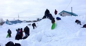 Students playing in the snow in Fort Severn First Nation
