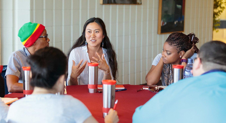 Teachers discussing at the Summer Enrichment Program
