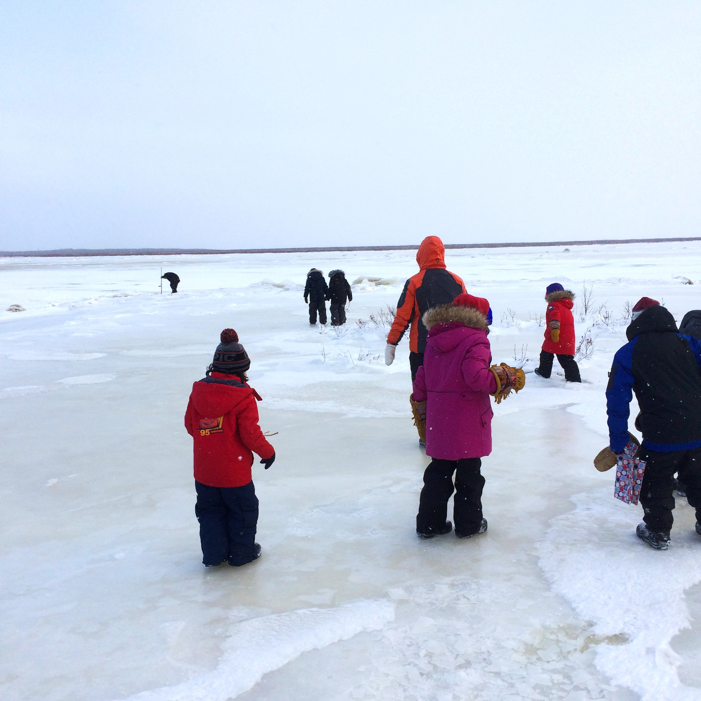 Students go ice fishing in Fort Severn First Nation