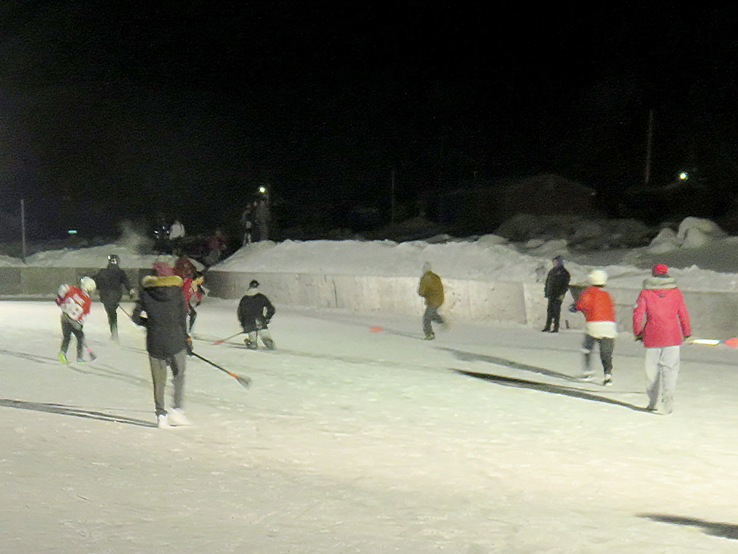 Outdoor broomball in Cat Lake First Nation