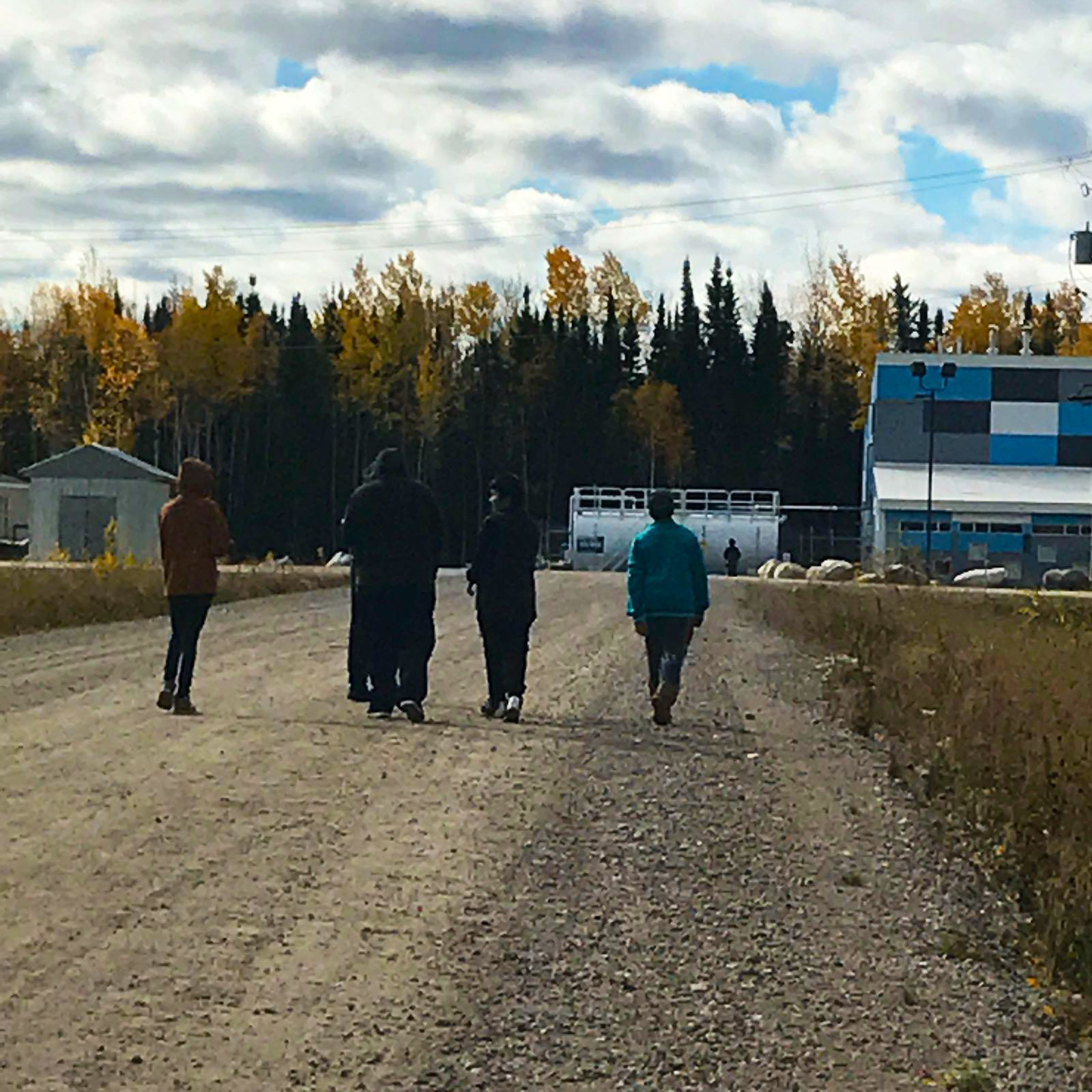 Students walking in Cat Lake First Nation