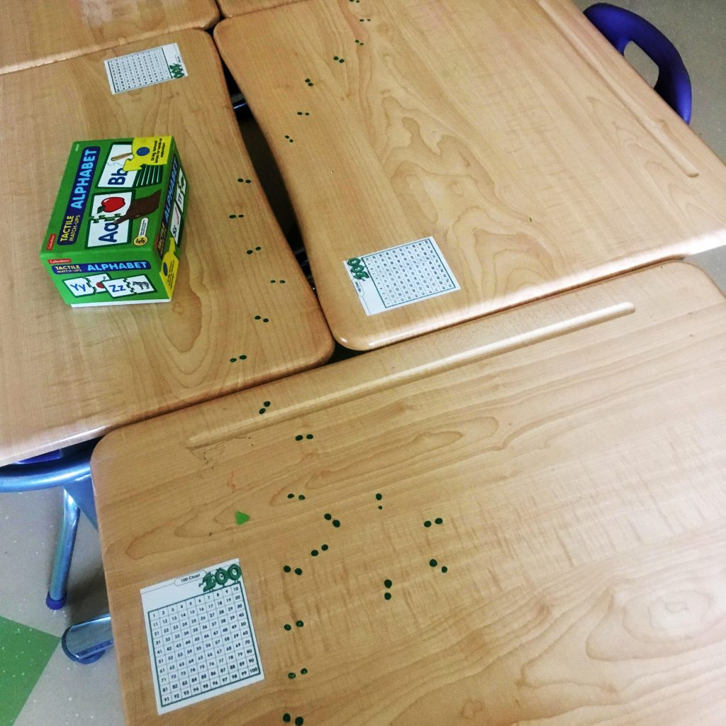 Leprechaun footprints indicate that he has visited the grade one class in Cat Lake First Nation