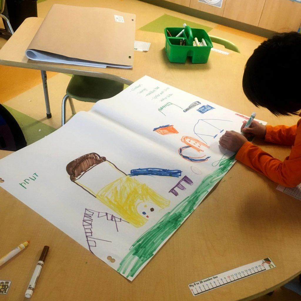 Grade one student working in Cat Lake First Nation