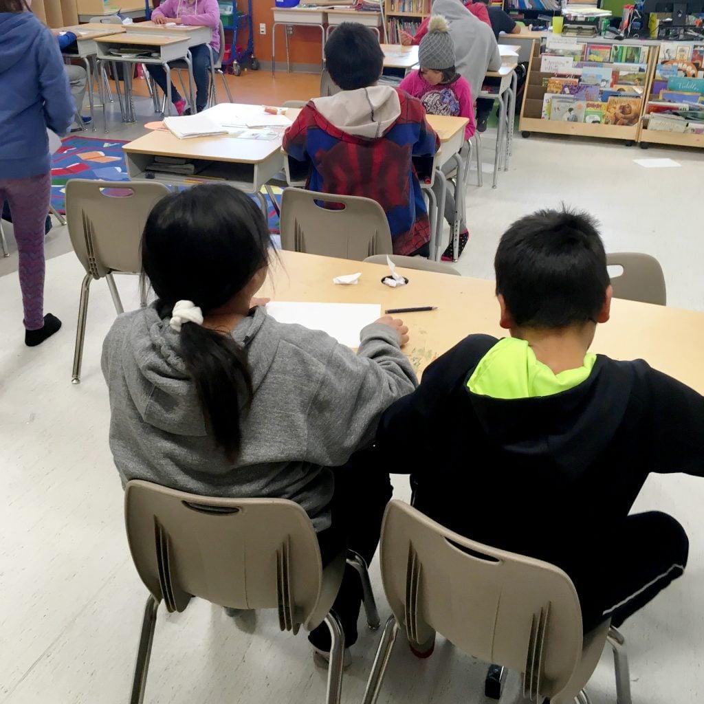 Grade 3/4 students at Wasaho Cree Nation School
