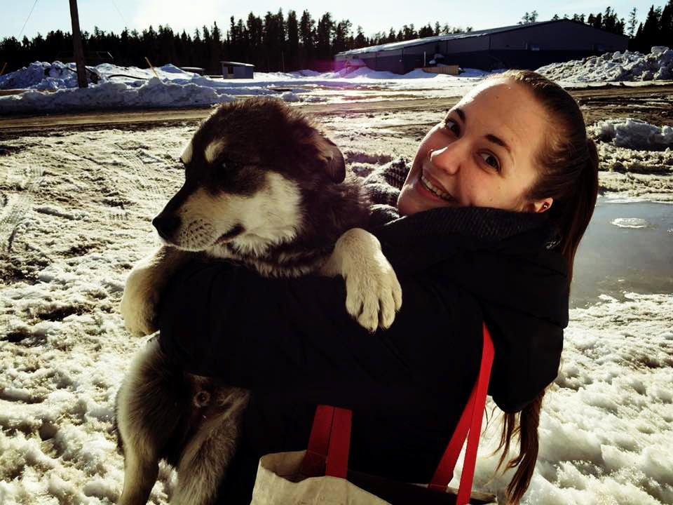 Teach For Canada teacher Mary Anne Barrett and a dog