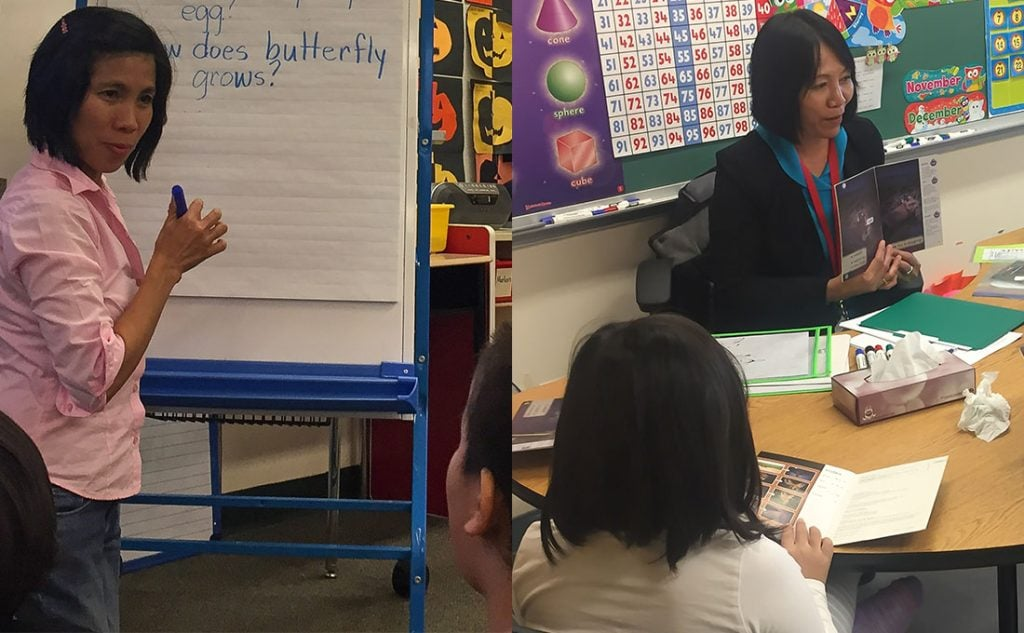 Doreen Vilarmino teaches grade 1/2 and Joyce Gantes teaches grade 2 in Deer Lake First Nation