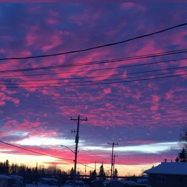 Dusk with pink and blue clouds in Eabametoong First Nation