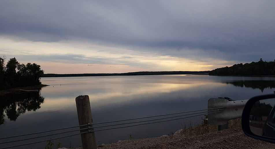 A landscape photograph of a lake in Lac Seul First Nation