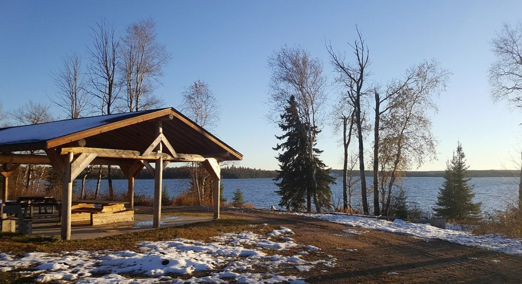 A landscape photograph of Lac Seul with a gazebo